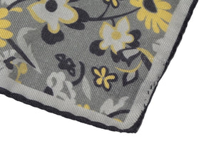 Wool/Silk Pocket Square Floral Print - Grey & Green