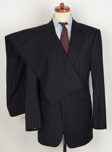 Pal Zileri Super 150s Striped Suit Size 52 - Navy Blue