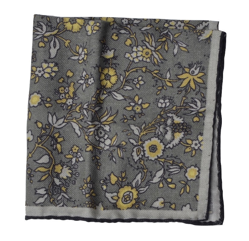 Wool/Silk Pocket Square Floral Print - Greys