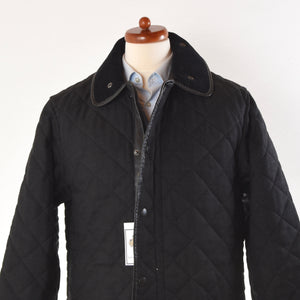 Barbour Wool Covert Quilted Jacket Size L - Charcoal