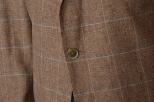 Terner Silk/Linen Windowpane Jacket Size 28 56SH - Brown