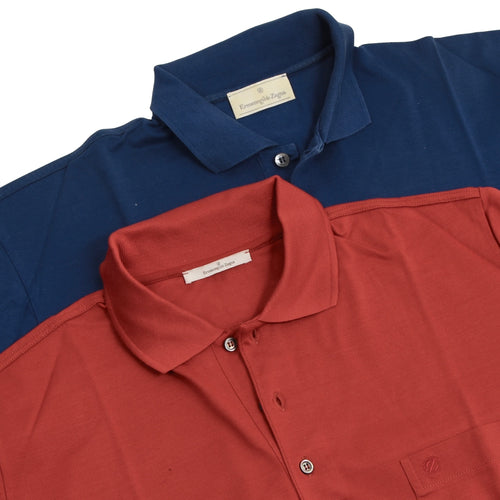 2x Ermenegildo Zegna Polo Shirts - Brick Red/Blue
