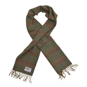 The Brackendale Plaid Wool Scarf - Green Plaid