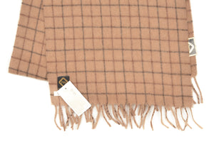 Camelhair Scarf with Graph Check - Camel
