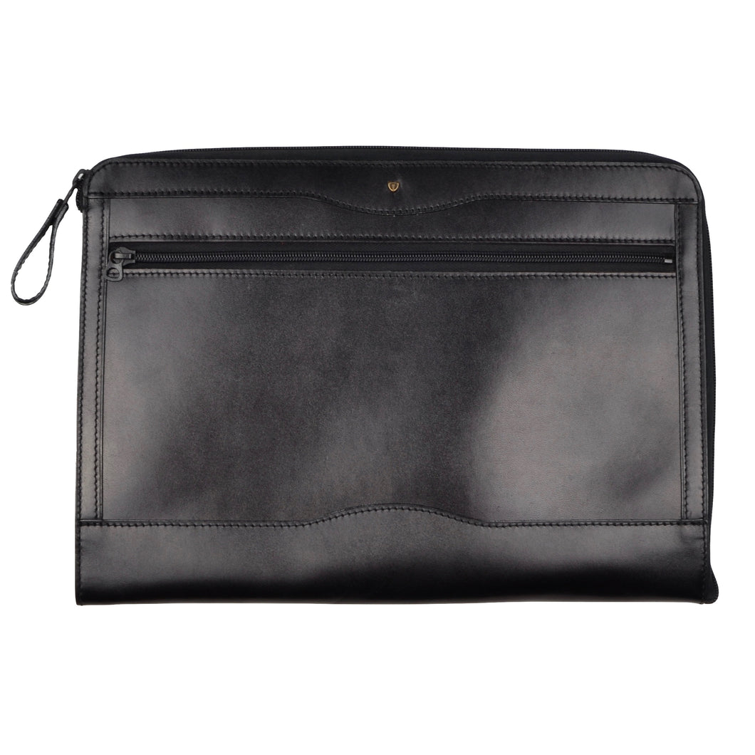 Pierre Waldon Leather Document Holder/Portfolio - Black