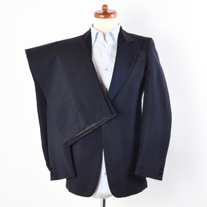 Vintage Wool/Mohair Peak Lapel Tuxedo Size 46 - Midnight Blue