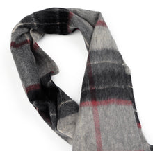 Load image into Gallery viewer, Plaid Cashmere Scarf - Grey, Black & Red