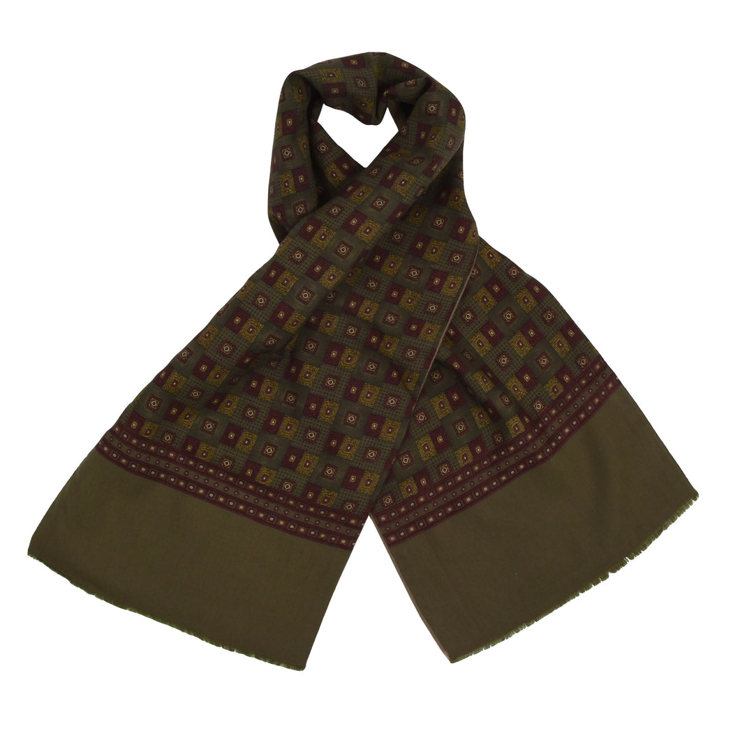 Classic Double Sided Silk-Wool/Wool Dress Scarf - Green