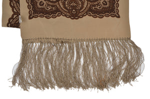 Codello Silk Dress Scarf - Tan & Brown