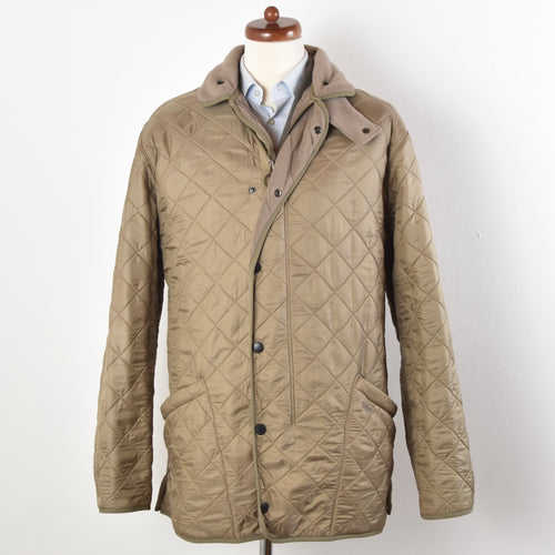 Barbour Quilted Polarquilt Long Jacket Size XL - Sand/Tan