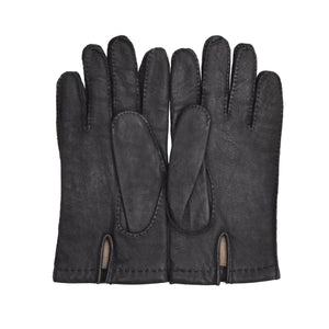 Leather Lined Gloves Size 8.5 - Dark Grey/Black