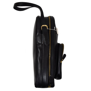 E. Braun & Co. Wien Leather Shoulder Bag - Black
