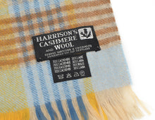 Load image into Gallery viewer, Plaid Cashmere & Wool Scarf by Harrisons - Blue & Yellow