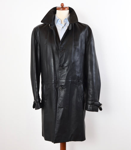 Seraphin Leather Trench Coat Size 54 - Black