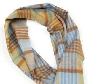 Plaid Cashmere & Wool Scarf by Harrisons - Blue & Yellow