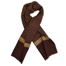 Load image into Gallery viewer, Classic Wool Challis Dress Scarf - Brown/Burgundy