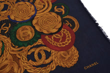 Load image into Gallery viewer, Chanel 136.5cm Silk/Cashmere Scarf/Shawl - Navy