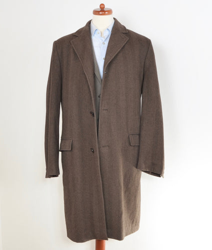 Wellington of Bilmore Wool Blend Coat Size 52 - Brown Herringbone