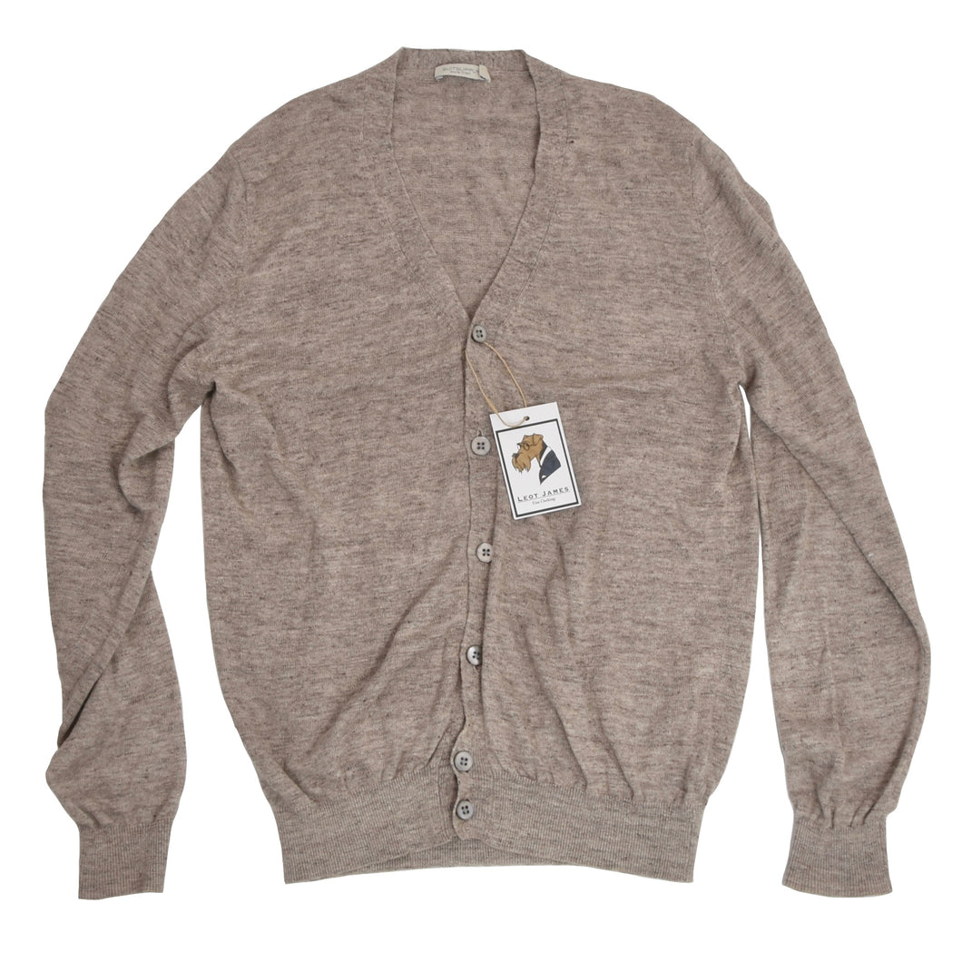 Suitsupply Pure Linen Cardigan Sweater Size M - Oatmeal