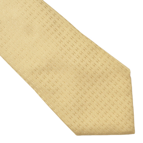 Hermès Paris Silk Tie H Pattern - Gold