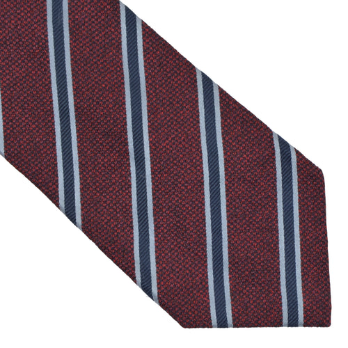 Ermenegildo Zegna Striped Silk Tie - Burgundy & Blue