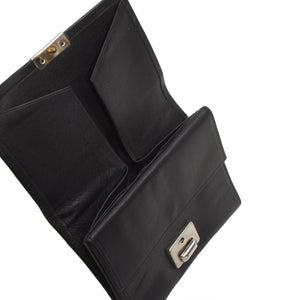 Creation Weiss Buffalo Leather Clasp Wallet - Black