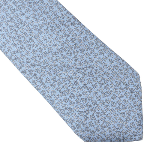 Hermès Paris Silk Tie 5165 IA - Light Blue