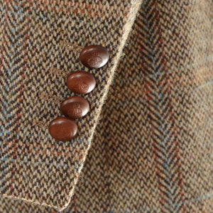 Harris Tweed/Barutti Wool Jacket Size 48/38R - Tan Windowpane