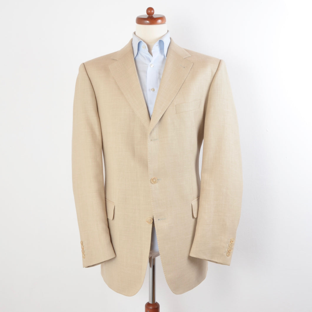 House of Gentlemen 1/4 Lined Wool/Linen Jacket Size 102/52L - Beige/Sand