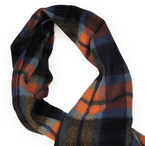 Plaid Wool Scarf by F. Uno - Navy & Orange