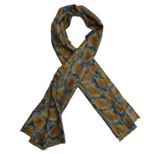 Load image into Gallery viewer, Silk Paisley Dress Scarf  - Aqua/Mustard