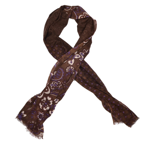 Andrew's Ties Gauze Extra Long Wool Scarf - Brown Floral