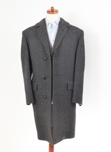 Vintage Handmade Belted-Back Wool Coat  - Houndstooth