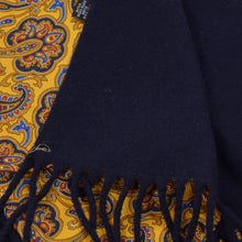 Load image into Gallery viewer, Classic Double-Sided Silk/Wool Dress Scarf - Yellow Paisley/Navy