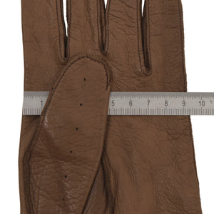 Classic Unlined Leather Driving Gloves - Brown