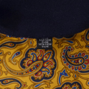 Classic Double-Sided Silk/Wool Dress Scarf - Yellow Paisley/Navy