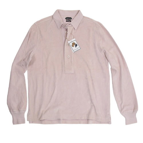 Tom Ford Terrycloth Long Sleeve Polo Shirt Size 50 - Light Pink