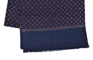Wool & Silk Dress Scarf - Navy & Red