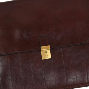 La Mode Style Leather Briefcase/Document Holder - Burgundy-Brown