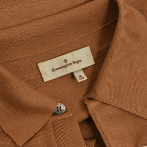 Ermenegildo Zegna Wool/Cashmere/Silk Polo Sweater Size M/50 - Tan/Brown