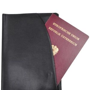 Maître Leather Passport Case/Wallet - Black