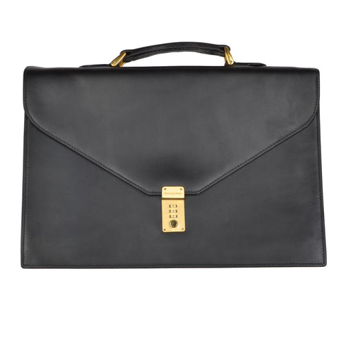F. Schulz Wien Leather Briefcase - Matte Black