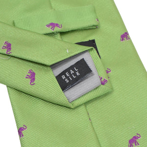 William Silk Elephant Tie -Green