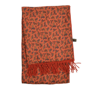 Carnaval de Venise Double-Sided Silk Wool Scarf - Orange Paisley