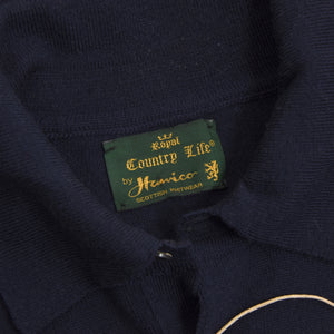 Hawico Scotland Wool Polo Sweater Size 44  - Navy Blue