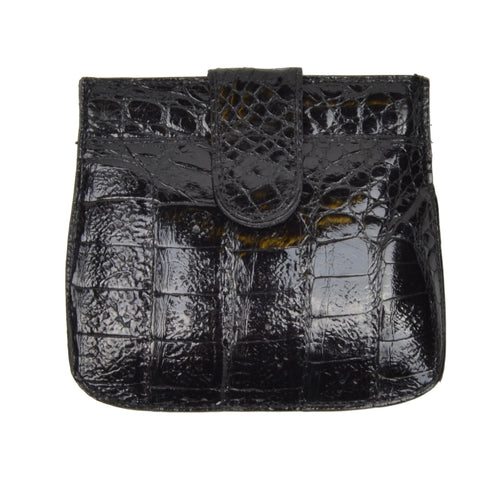 Genuine Crocodile Snap Coin Wallet - Black