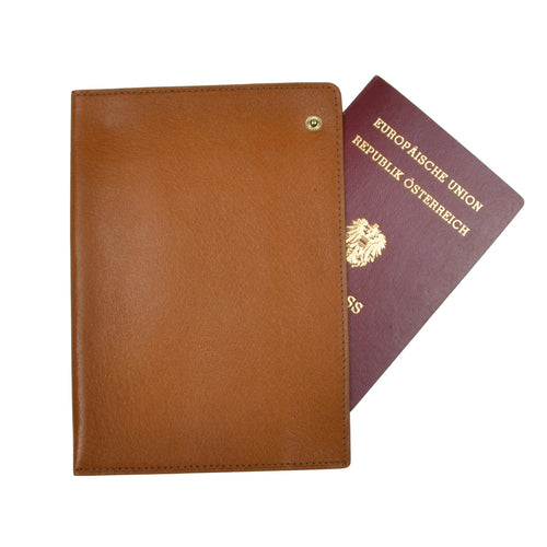 F. Schulz Wien Leather Passport Case/Wallet - Tan
