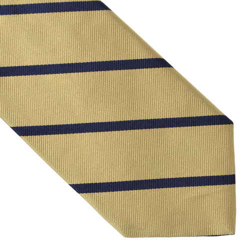 Brooks Brothers Classic Striped Silk Tie - Gold & Navy