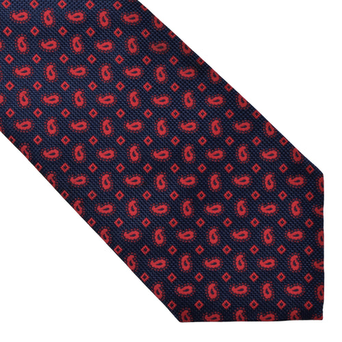 Michelsons of London Silk Tie - Navy & Red Paisley