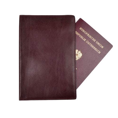 F. Schulz Wien Leather Passport Case/Wallet - Burgundy